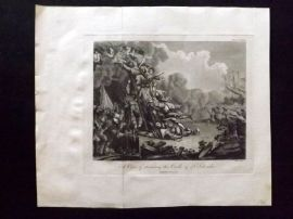 J. Pass 1797 Antique Military Print. A View of Storming the Castle of St. Salvador